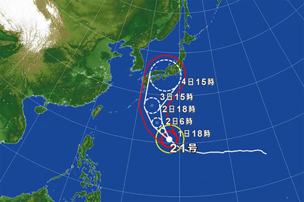 Trasa przejścia tajfunu numer 21 ( https://weather.yahoo.co.jp/weather/jp/typhoon )