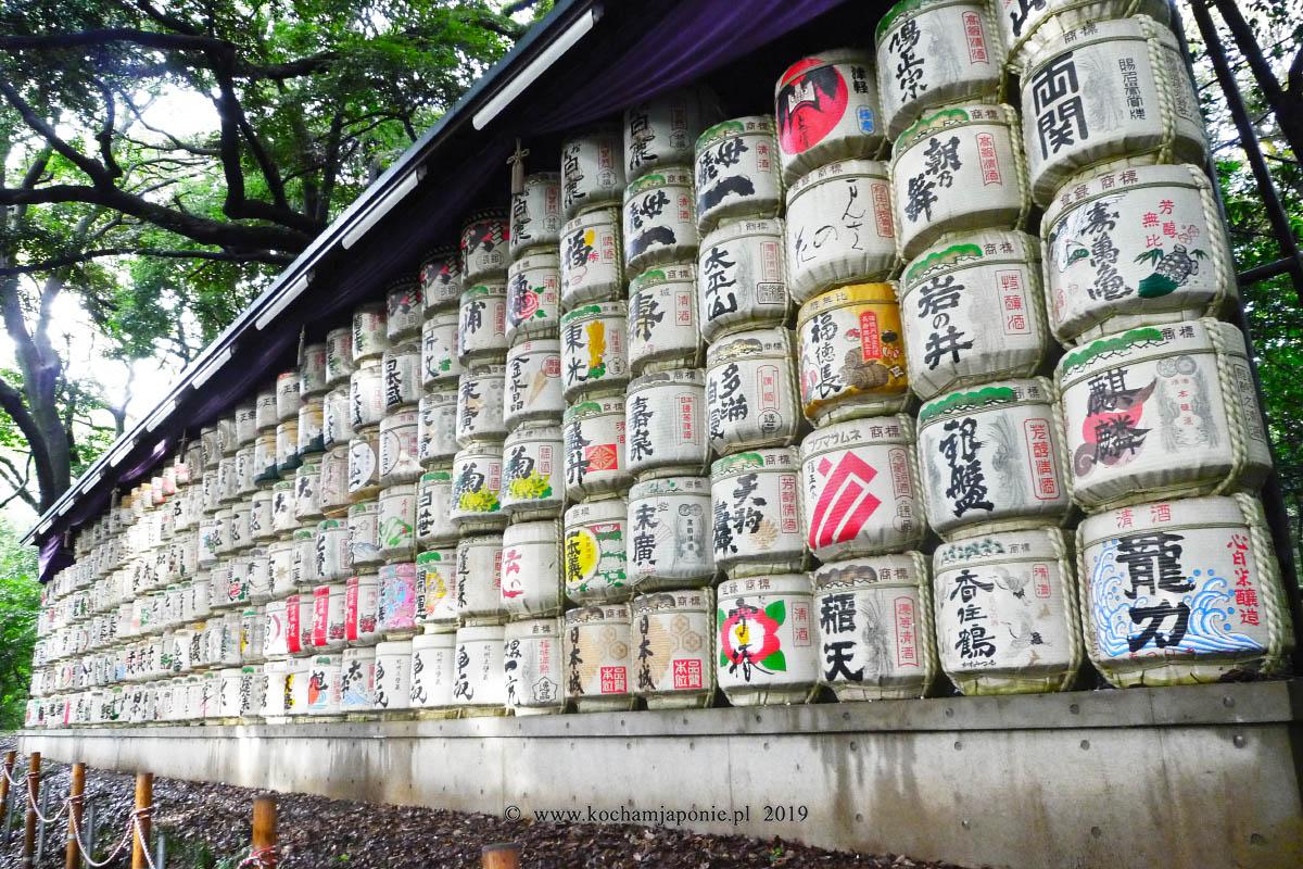Beczki sake w Meiji Jingu, Tokyo